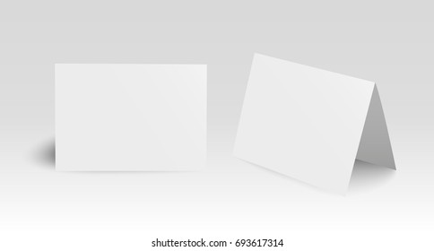 Set of two realistic standing vector blank bent paper cards
