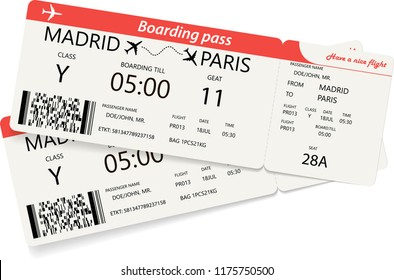 Set of two red boarding pass tickets over white background. Vector illustration.