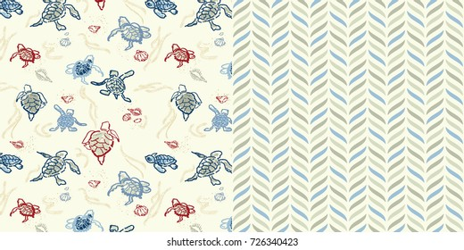 Set of Two Repeat Pattern All Over Turtle print and Geometric Pattern / Sandy Beach Background / Global Colors Saved with pattern swatches / Vector Illustration