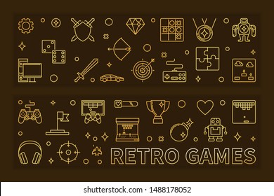 Set of two Retro Games concept outline golden banners. Vector illustration in thin line style on dark background