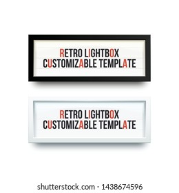 Set of two retro light boxes with customizable text. Place for theater ads. Classic advertising banner,vintage billboard. Theater or cinema lightbox.
