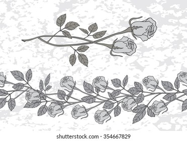 Set of two roses in a gray color and seamless border of roses. Eps-8