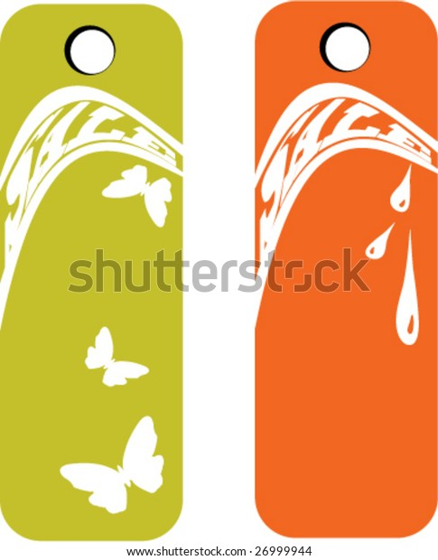 Set of two sale banners - summer and autumn - with modern distort text (vector)