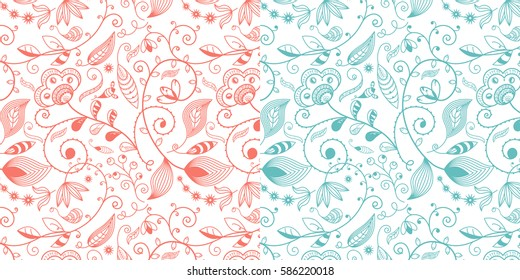 Set of Two Seamless Floral and Vine Patterns / Vector Illustration / Peach & Aqua / Patterns saved to Pattern Swatches
