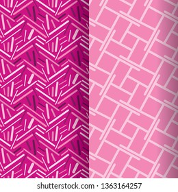 set of two seamless pattern tiles in pink. geometrical squares and lines patterns in elegant modern design for textile, fabric, backgrounds, wallpapers and surface design templates.tiles are seamless