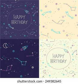 Set of two seamless vector patterns and two Happy Birthday cards. Space patterns. Rockets, constellations and stars. Cartoon spaceship icons. Kid's elements for scrap-booking. Hand drawn illustration.