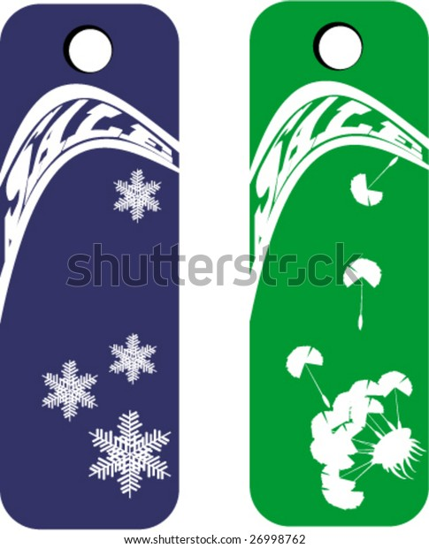 Set of two season sale banners - winter and spring - with modern distort text (vector)