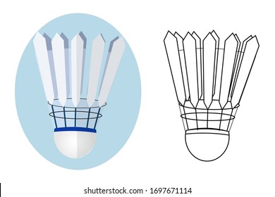 Set of two shuttlecocks in vector design isolated on white background.