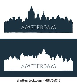 Set of two skyline illustrations in two colors. Roofs of Amsterdam in two colors.
