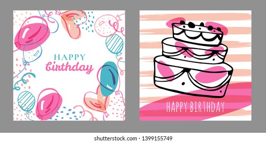 Set of two square birthday card design templates. Hand drawn cartoon vector sketch illustration with cake and balloons