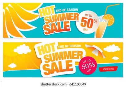 Set of two summer sale banners