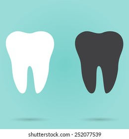 Set of two teeth on turquoise background vector illustration