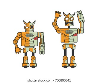 Set of two toy electronic robots expressing different emotions isolated on white background. Android standing in calm position and with raised hands and opened mouth. Cartoon vector illustration.