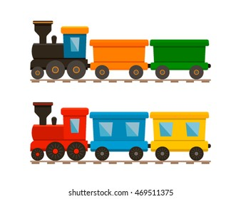 Set of two trains, Passenger and cargo. Icon of a children's toy. flat vector illustration isolate on a white background