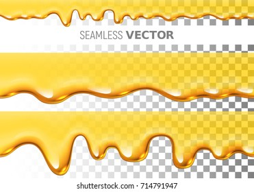 Set of two transparent vector seamless dripping honey pattern on checkered background. Eps10. RGB. Global colors
