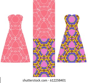 set of two types of seamless geometric patterns, and two versions of a summer female dress with an open top decorated with these patterns. vector illustarion