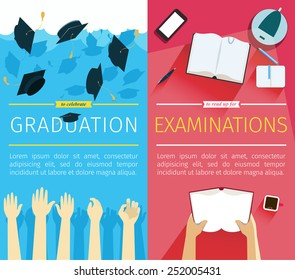 Set of two vector education banners. Preparing for examinations banner with hands which is holding book. Celebrating a graduation banner with student hands which is throwing up square academic caps