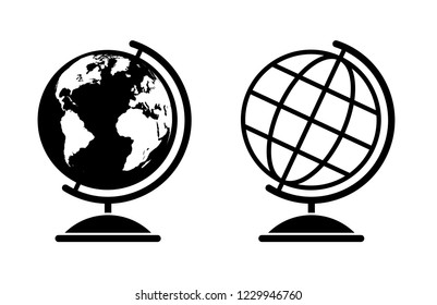 Set of two vector globe illustrations with world map and a wireframe globe
