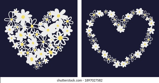 Set of two vector graphic ditsy daisy flower placement artwork with dark blue background.
