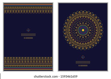 Set of two vector greeting card with sari border design and mandala design on a navy blue background.