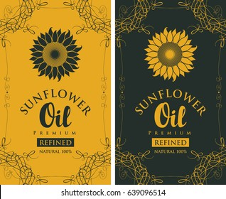 set of two vector labels for refined sunflower oil with sunflower and the inscription on black and yellow background in curly frame