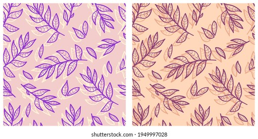A set of two vector patterns from leaves and twigs.