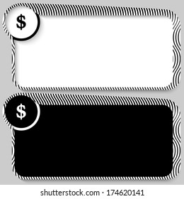 set of two vector text box with pattern and dollar mark