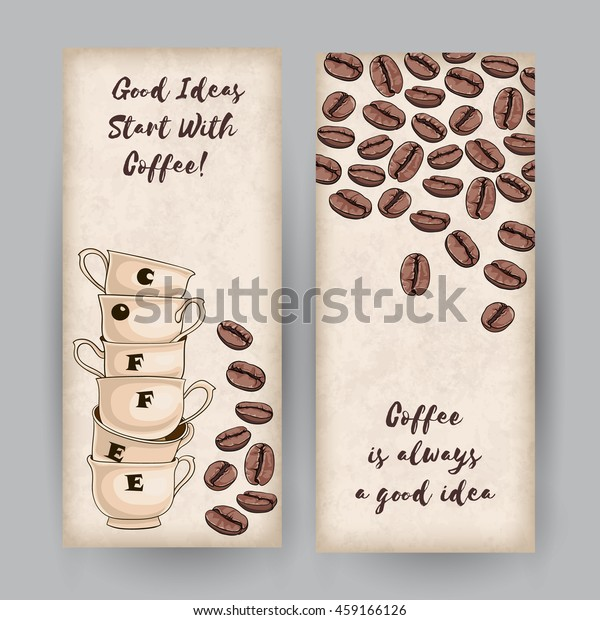 set two vertical banners coffee cups stock vector royalty