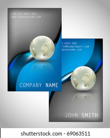 Blue glossy business card stock vectors images vector art set of two vertical business cards vector illustration reheart Images