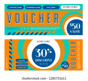Set of two vivid gift vouchers with 50 value and 30% discount in shop