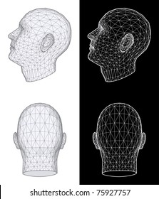 Set of Two Wireframe Views of a Human Head at Different Angles on White and Black Background. Vector Illustration
