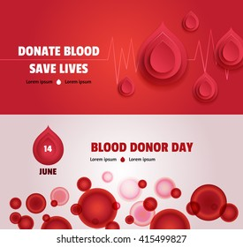 Set of two world blood donor day concept banners: with heartbeat and paper drops; with cells. Medical posters