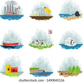 Set of types of air pollution. Vector illustration on a white background.