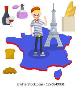 Set of typical France. Man in blue striped shirt, red beret, Eiffel tower, perfume, baguette bread, croissant, bottle and glass of red wine. European tourism. National symbol. Flat illustration