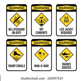 Set of typical open water swimming warnings