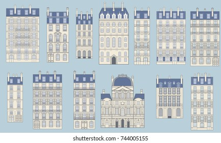 Set in a typical Parisian buildings, the variation of architecture in flat design. Vintage vector structures for web design, application icons, navigation services. Art deco and Art nouveau style.