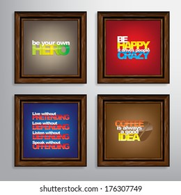 Set Of Typographic Backgrounds. Motivational Quotes. Canvas With Calligraphic Elements (EPS10 Vector)