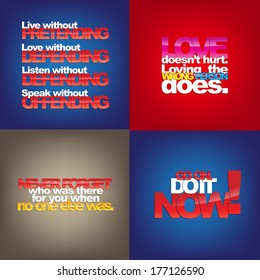 Set Of Typographic Backgrounds. Motivational Quotes. Backgrounds With Calligraphic Elements (EPS10 Vector)