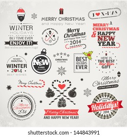 Set of typographic elements. Christmas vector collection. Different labels for your design.