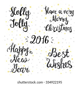 Set of Typographical Backgrounds. Happy New Year 2016, Merry Christmas, holly jolly, best wishes.