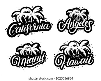Set of typography graphic prints with palms silhouettes and words California, Hawaii, Miami, Los Angeles. Design templates for card, tee prints. Modern brush calligraphy. Vector illustration.