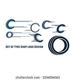 Set of tyre logo shop icons, tire icons, car tire simple icons