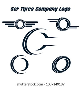 Set of tyre logo shop icons, tire icons, car tire simple icons, tyres company set logo template