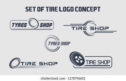Set of tyre logo shop icons, tire icons, car tire simple icons, tyres company set logo template, tire logo concept