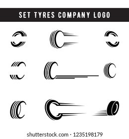Set of tyre logo shop icons, tire icons, car tire icons, tyres company set logo template