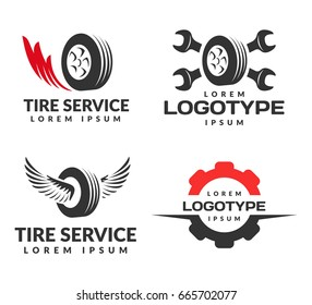Set of Tyre Shop Logo Design. Wheel repair service. Tire storage company sign. Tire logo.Wheel icon. Car repair service, Auto,  Burning tires logo. Tools icon.