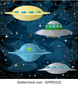 Set of ufo spaceships in comic cartoon style. Vector illustration.
