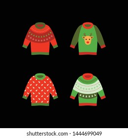 Set of Ugly Christmas sweaters. Clothes with different prints decorations, deer, tree, ornament.