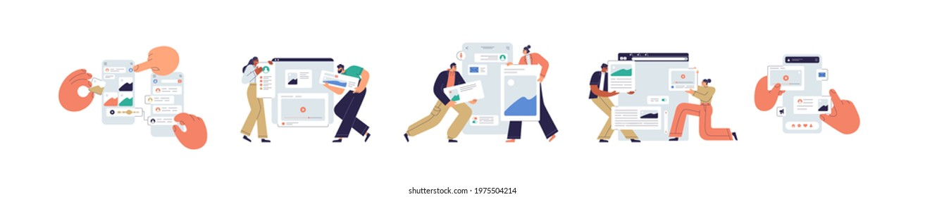 Set of UI and UX designers creating functional web interface design for websites and mobile apps. Digital wireframing process concept. Colored flat vector illustration isolated on white background