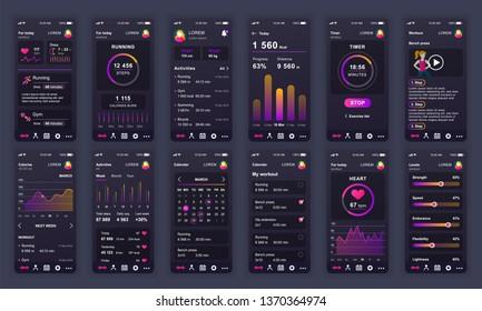 Set of UI, UX, GUI screens Fitness app flat design template for mobile apps, responsive website wireframes. Web design UI kit. Fitness Dashboard.